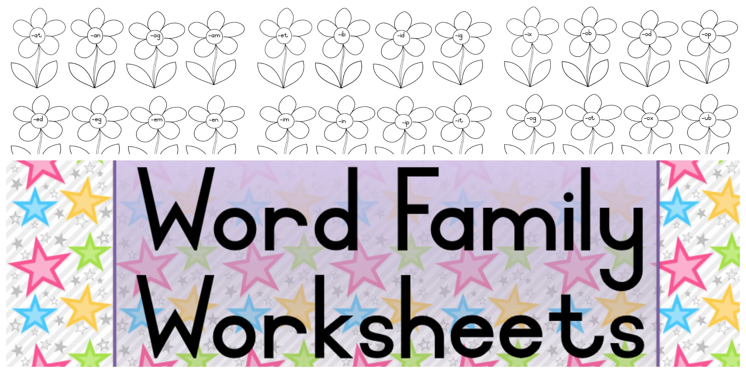 Word Family Flowers Worksheets Teacha