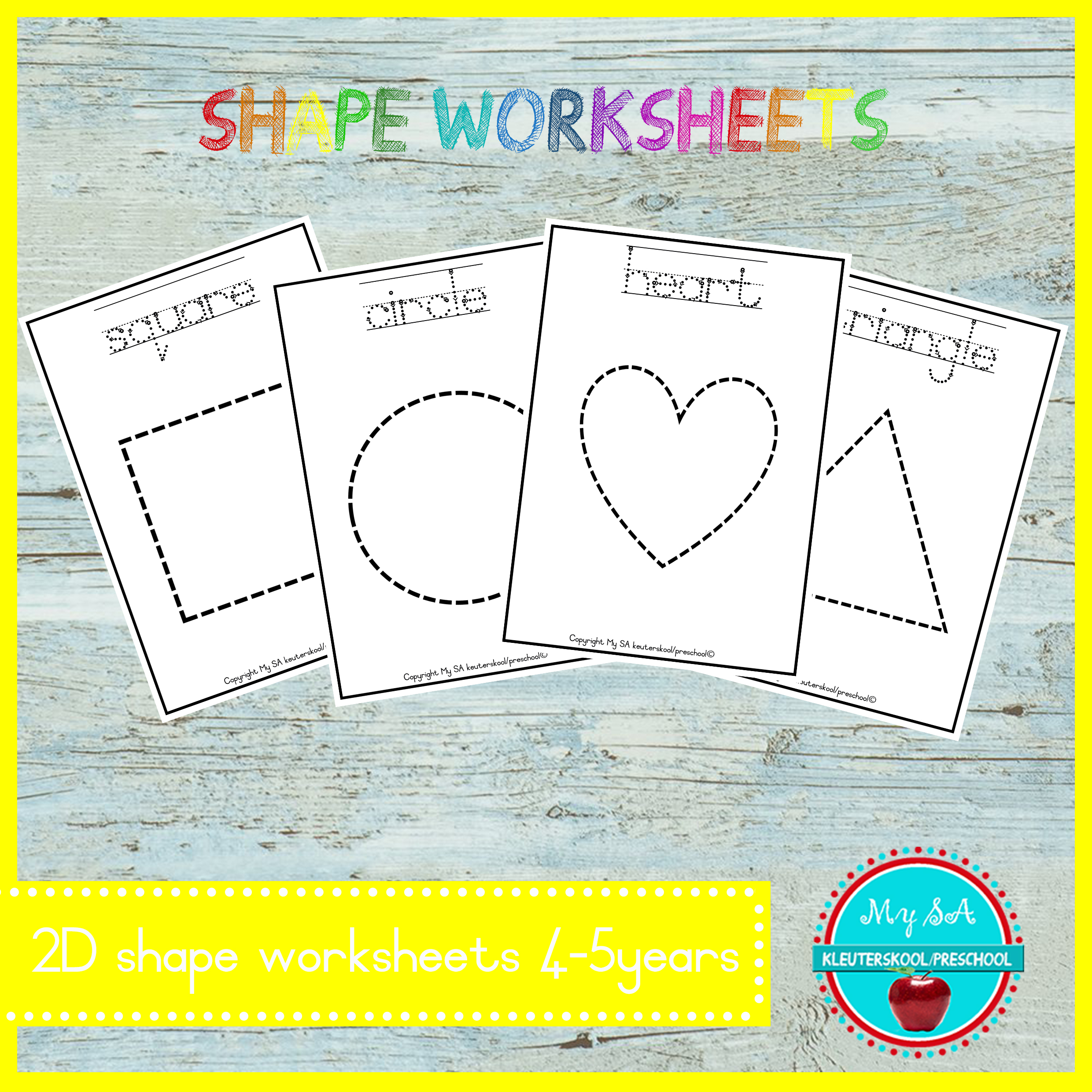 Shape Worksheets 4 5years Teacha