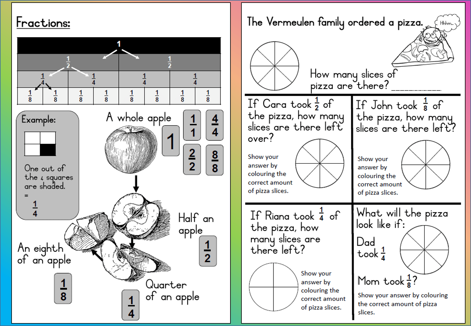 Mathematics Grade 3 Fractions Worksheet Teacha