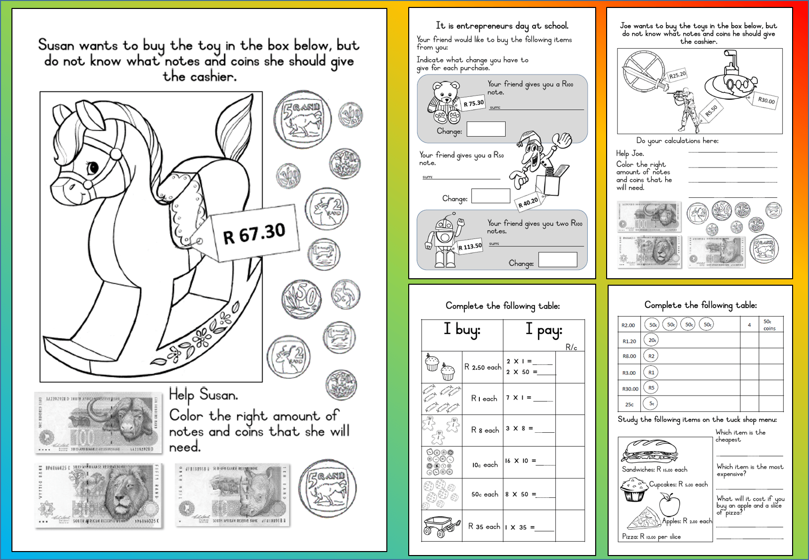 Math And Money Worksheet