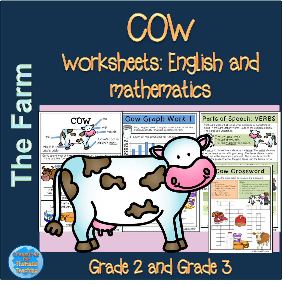 Farm Animals Cow Theme Pack With English And Mathematics
