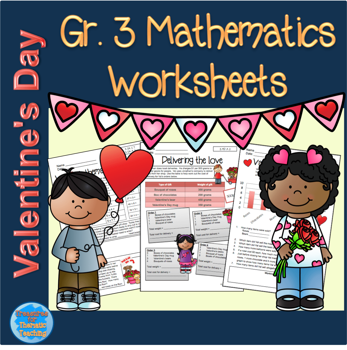 Valentine S Day Themed Mathematics Worksheets Grade 3 Teacha