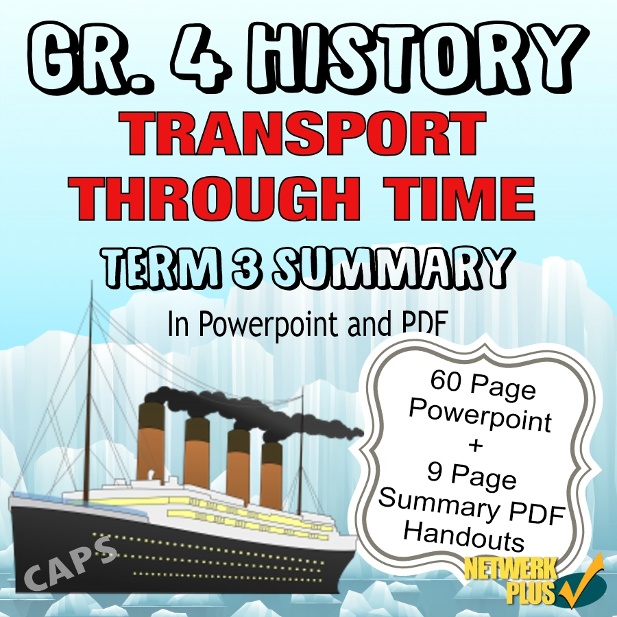 hight resolution of Grade 4 History Term 3 Transport through Time - Powerpoint slides and PDF  Summary in English - Teacha!