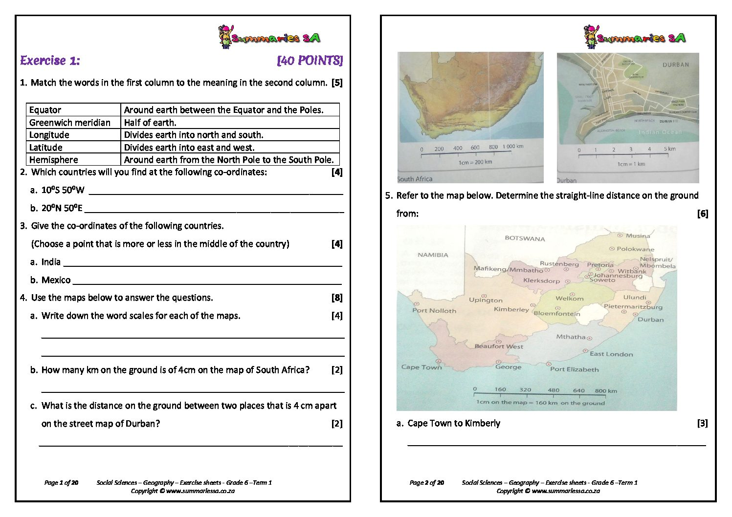 Geography Worksheet For Fourth Grade