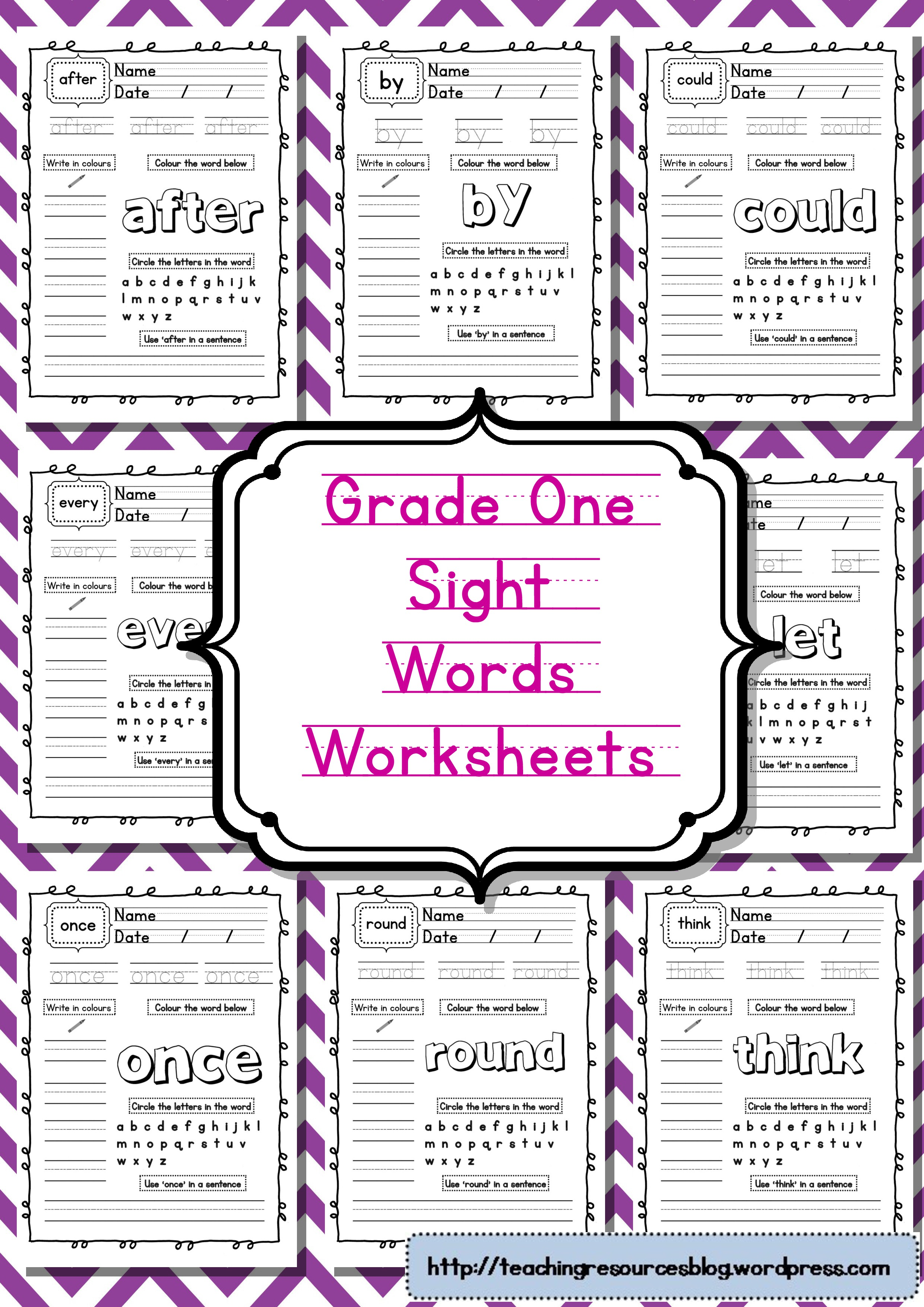 Grade One Sight Words Worksheets
