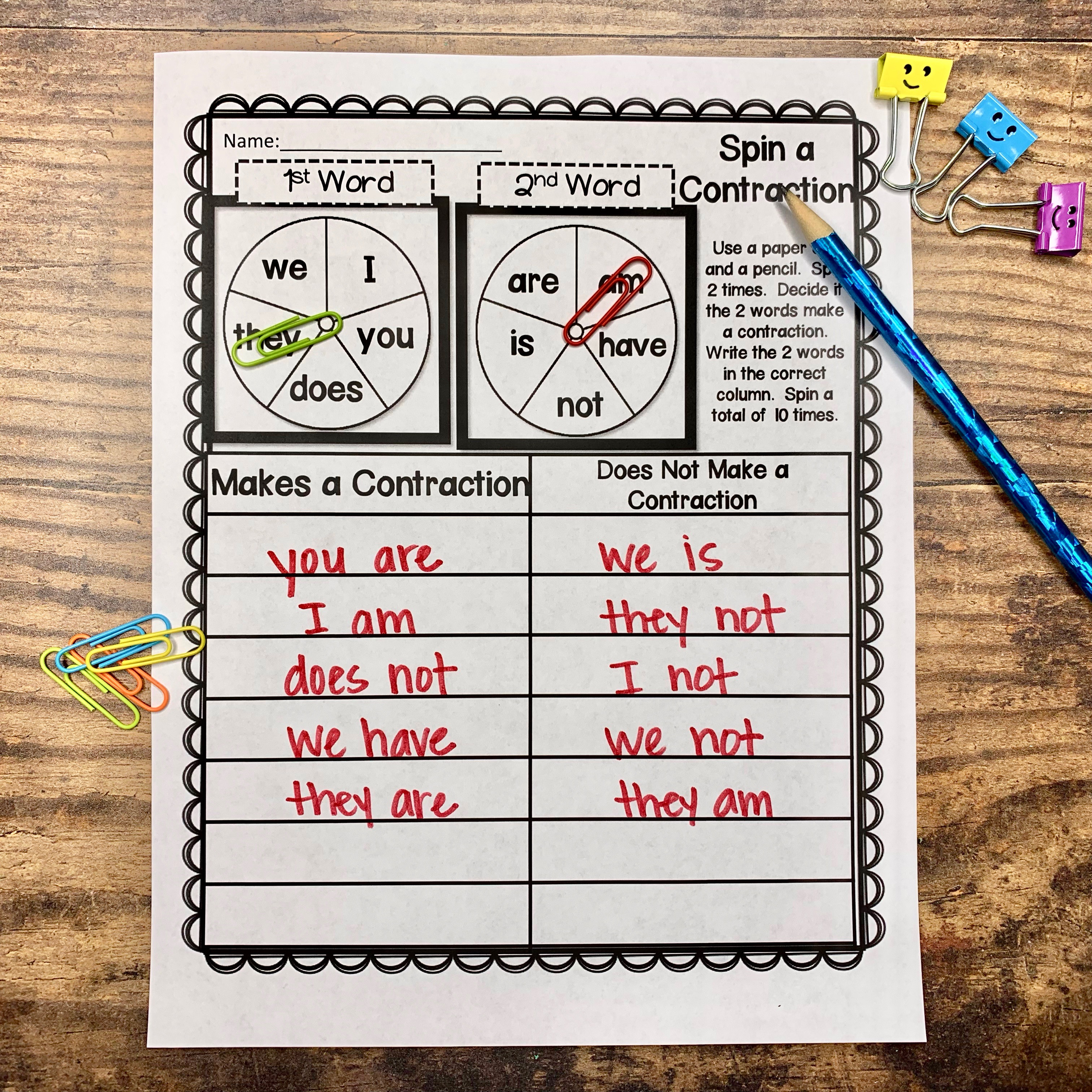 Teaching Contractions - Teaching Second Grade [ 1024 x 1024 Pixel ]