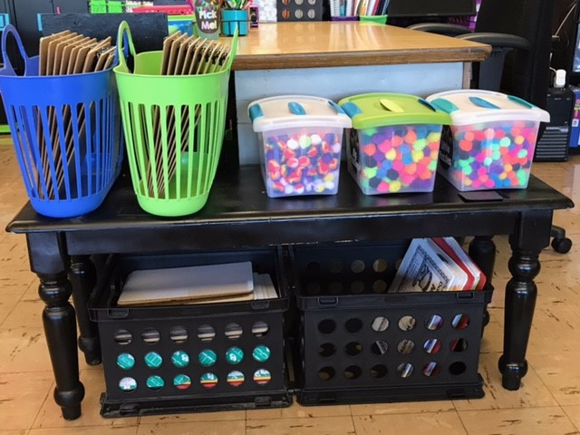 various flexible seating and organization options for students - binder holders, art supplies, bench, and more