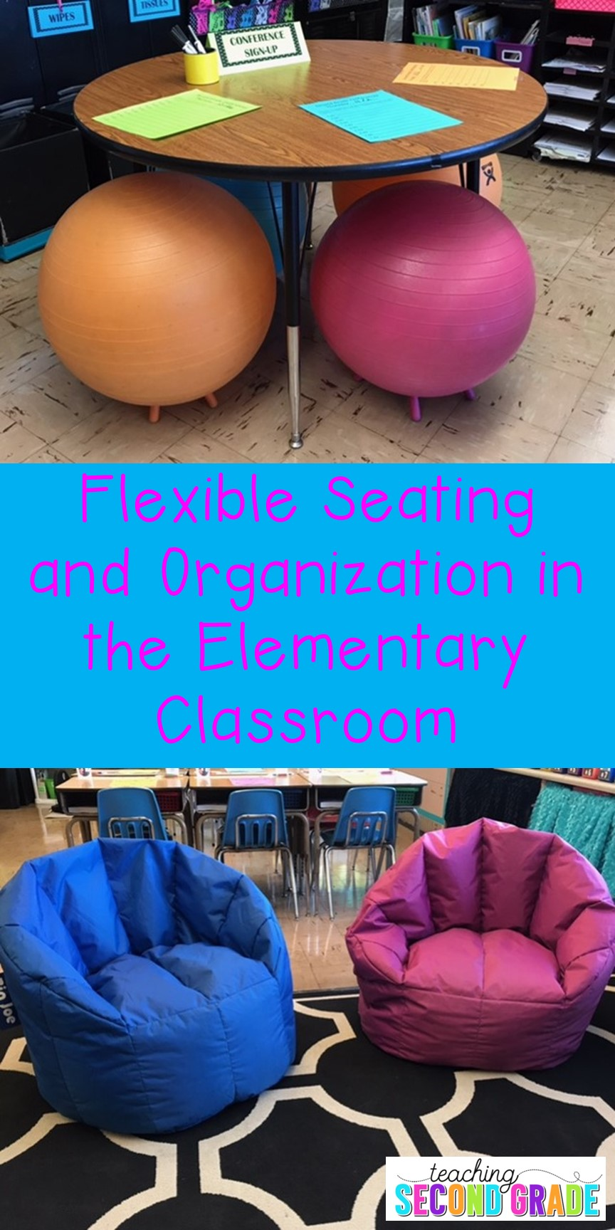 Flexible Seating and Organization - yoga balls and comfy chairs