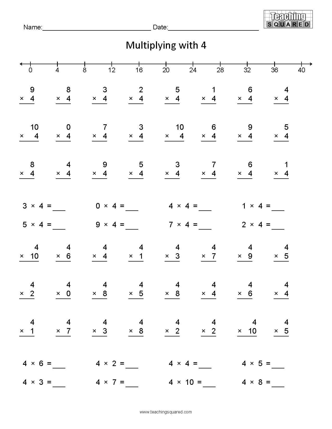 hight resolution of Learning Multiplication- Multiplying by 4 - Teaching Squared
