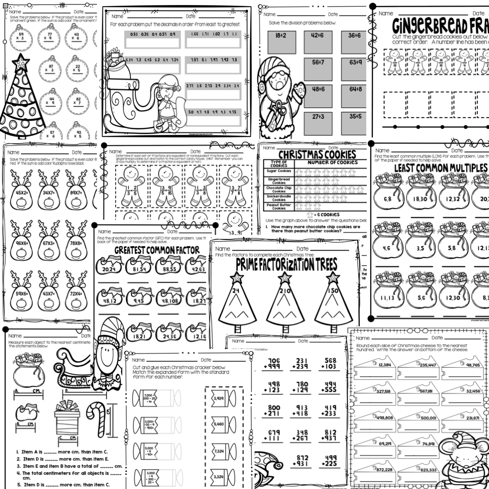 medium resolution of Christmas Math Worksheets Grades 3-5 - Teaching Tidbits and More