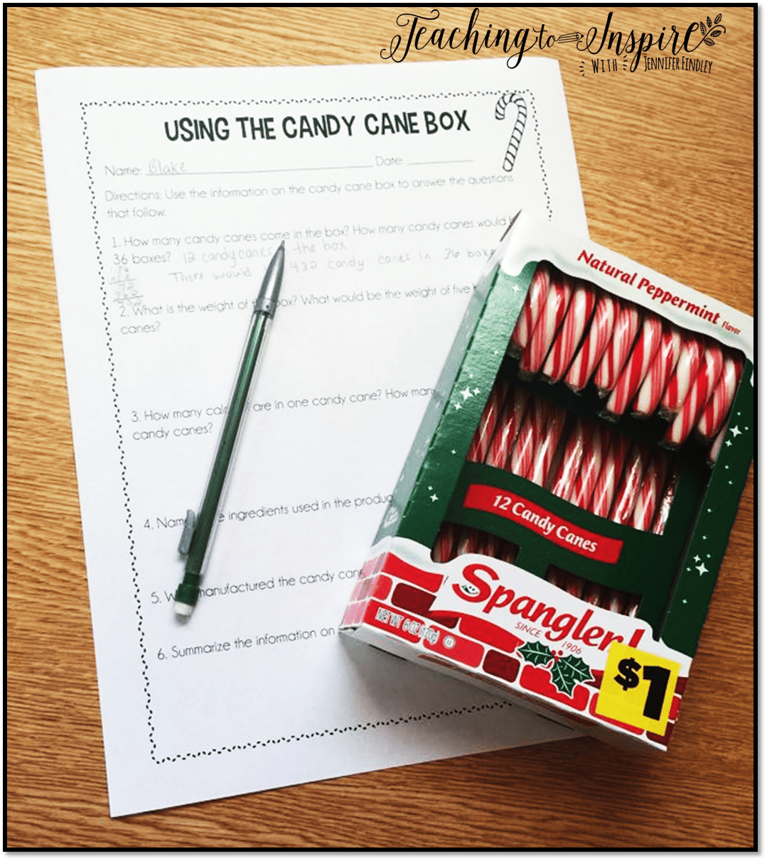 Candy Cane Activities For Upper Elementary Free