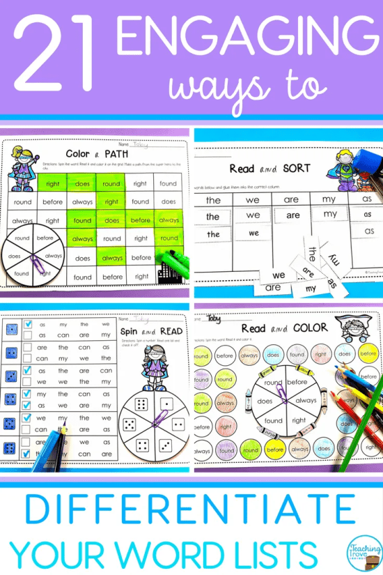 Editable word work activities are a huge time saver.  It's so easy to create a range of literacy centers, sight word practice activities, even homework sheets - all with the words you need for your kids.