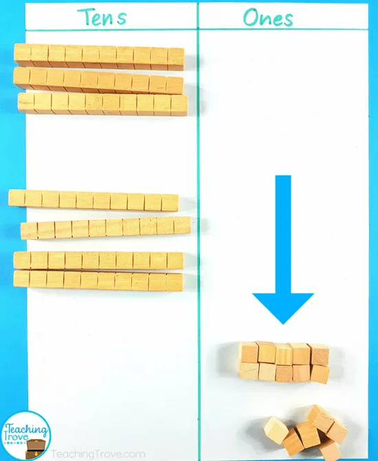 Use place value blocks to teach double digit addition.