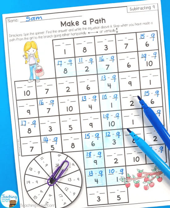 Subtraction games are great for learning the subtraction facts.