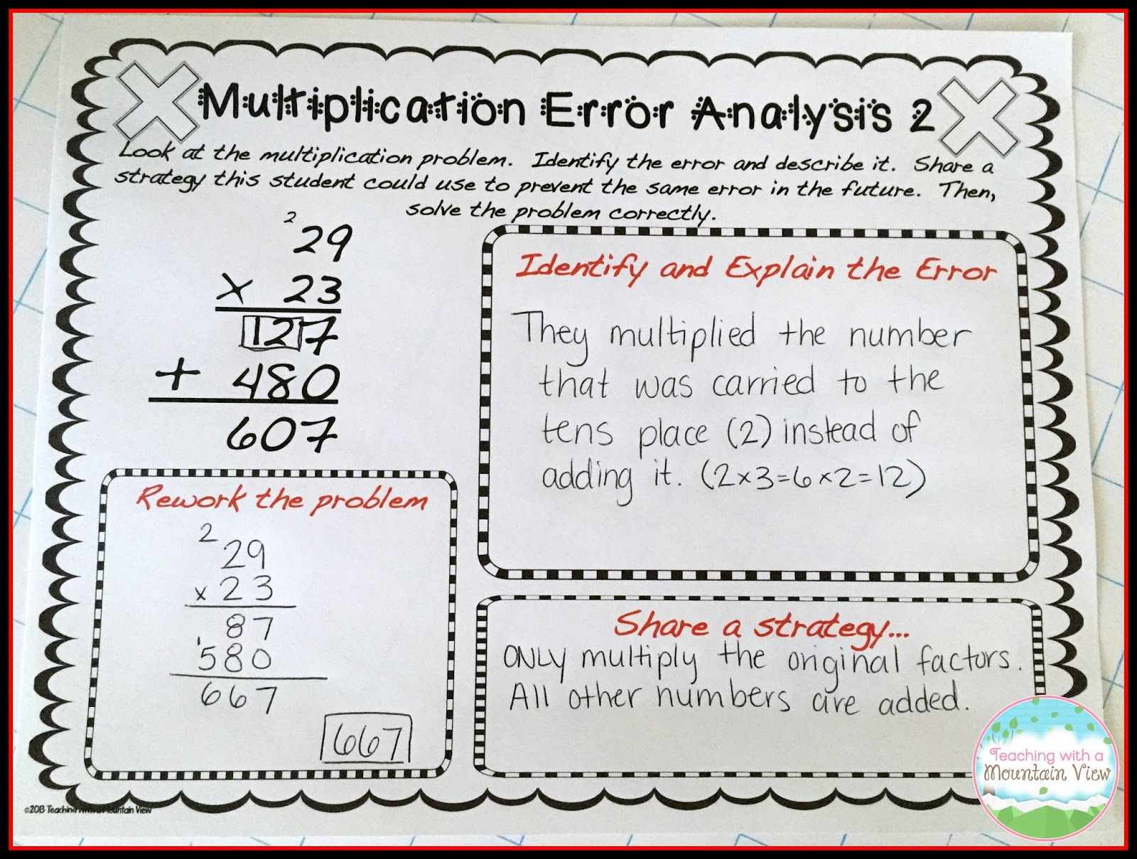 hight resolution of Error Analysis for Enrichment and Critical Thinking - Teaching with a  Mountain View