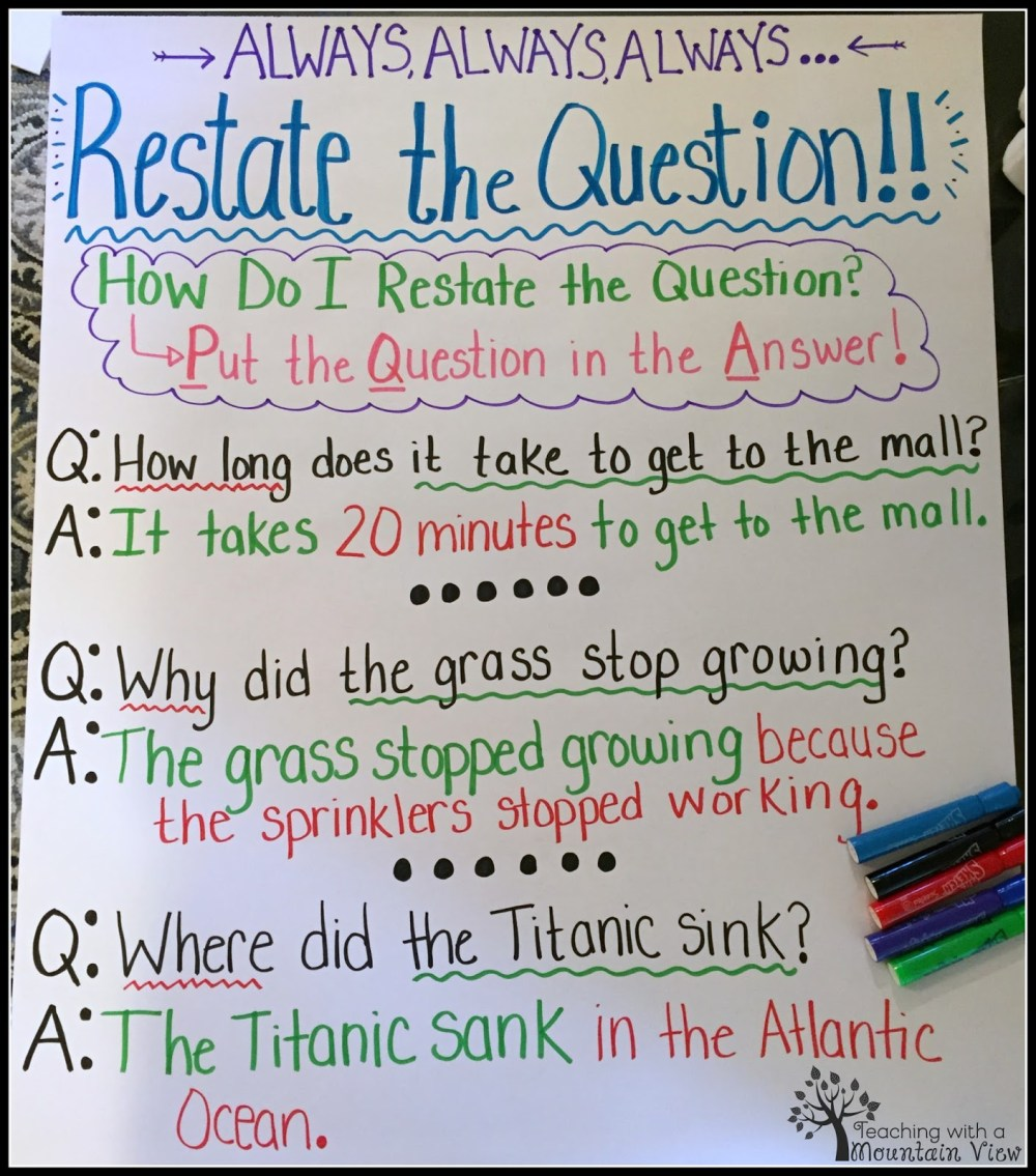 medium resolution of Restating the Question Lesson - Teaching with a Mountain View