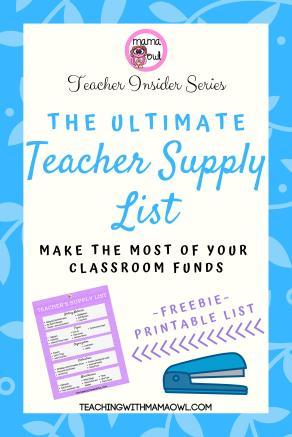 Teacher Supply List