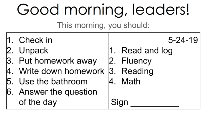 Students' morning routine