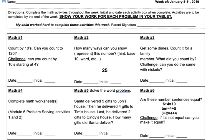 Math Choice Chart Example