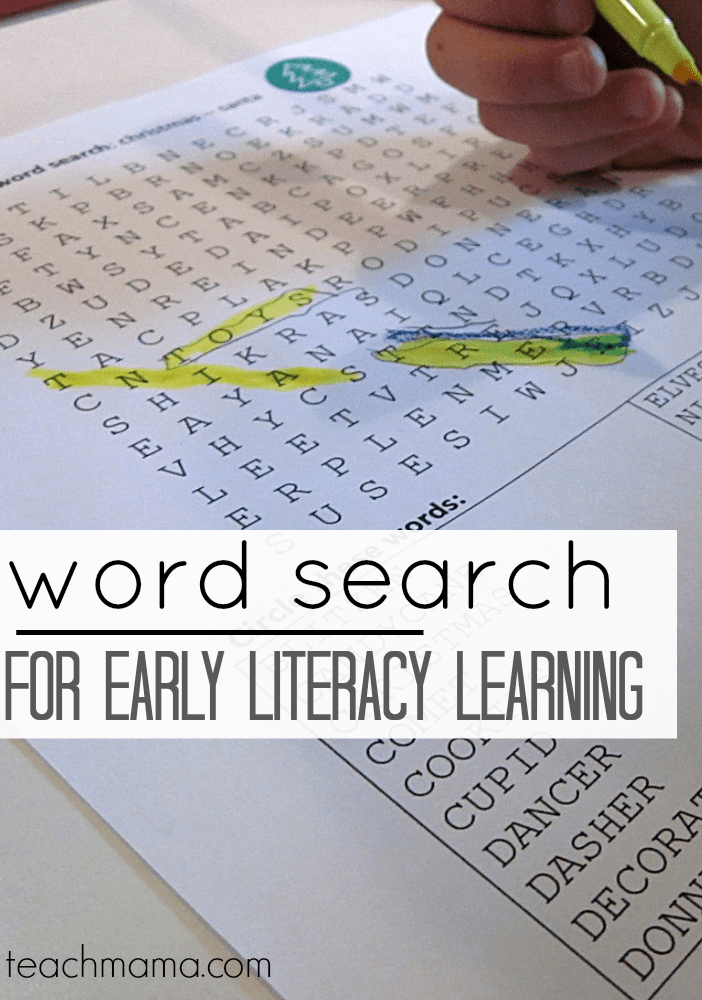 word searches for early literacy learning   teachmama.com