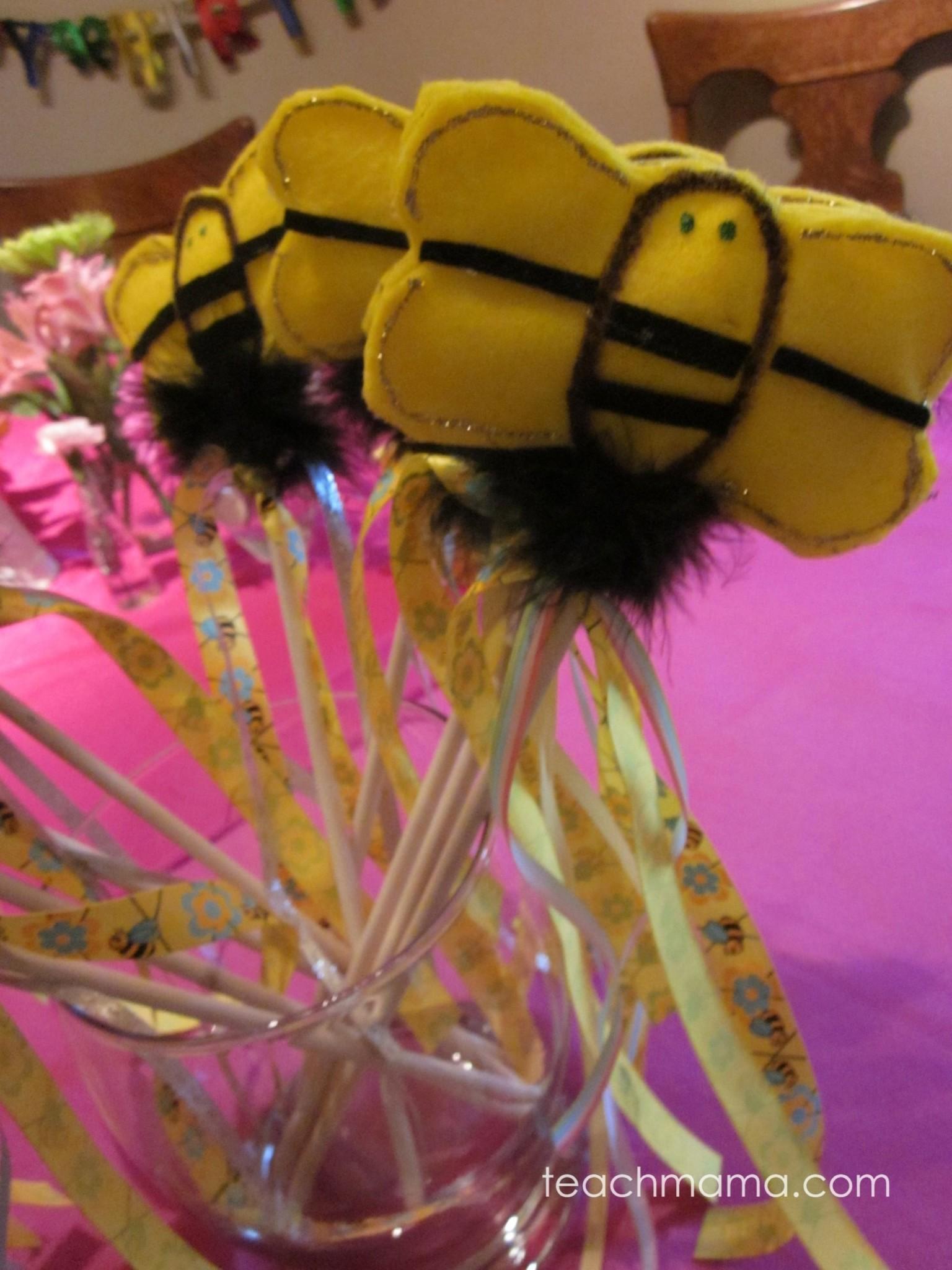 bumblebee birthday ideas: bumblebee wands, pens, games