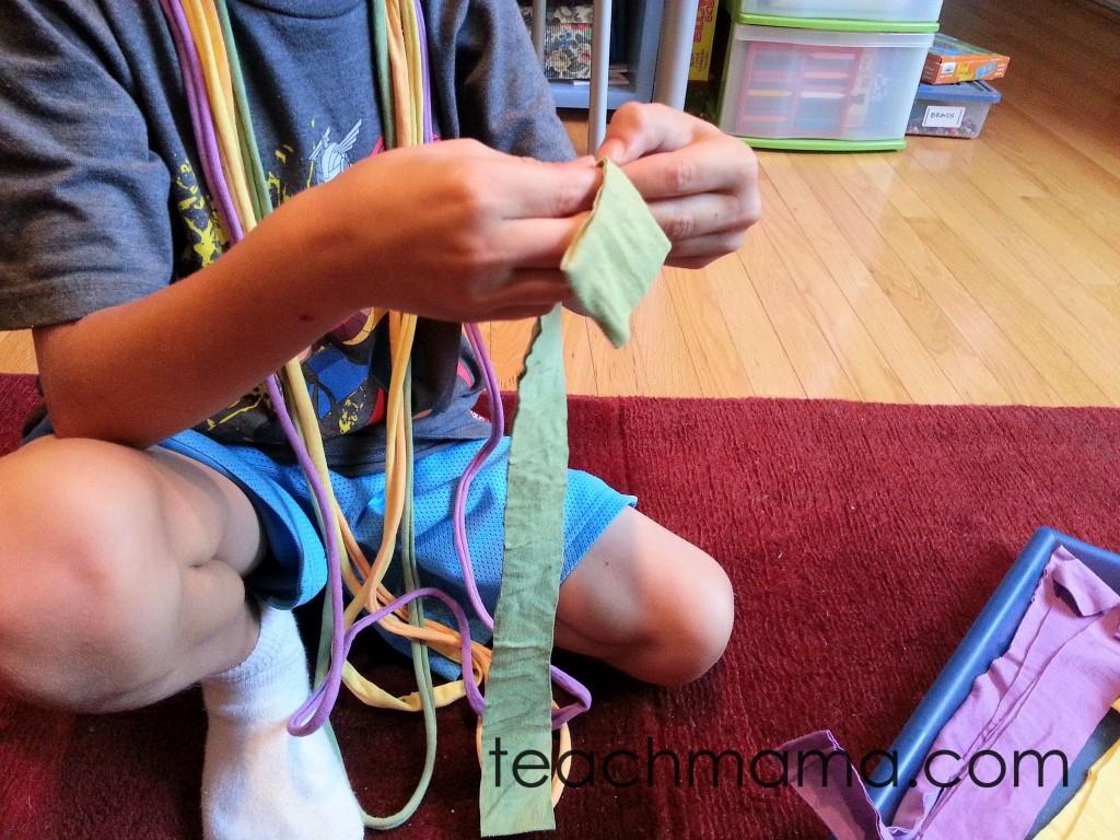 halloween scarf -- pulling strands