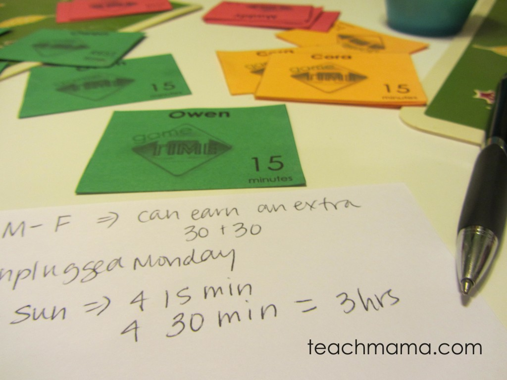 screen time cards: manage kids' screen time