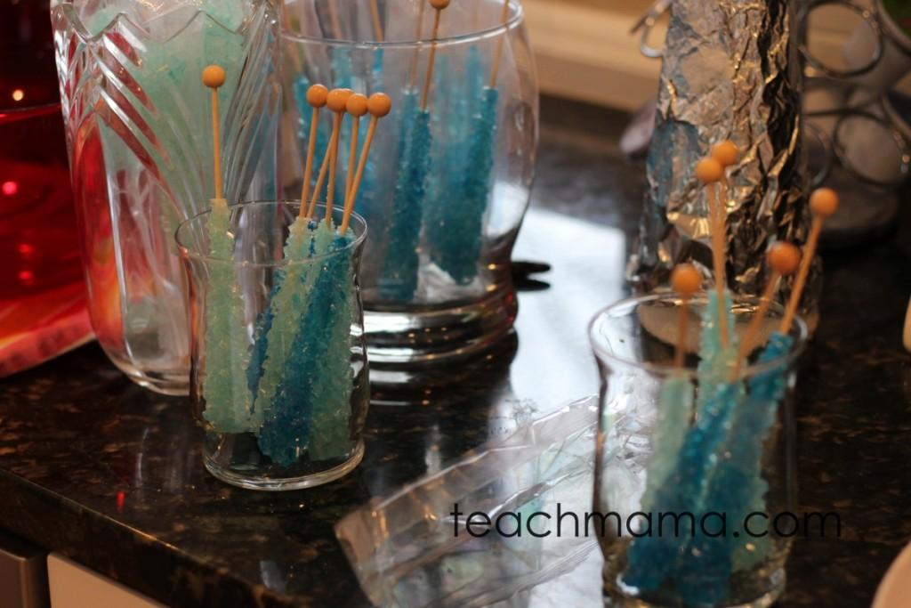rock candy pops in glass jars