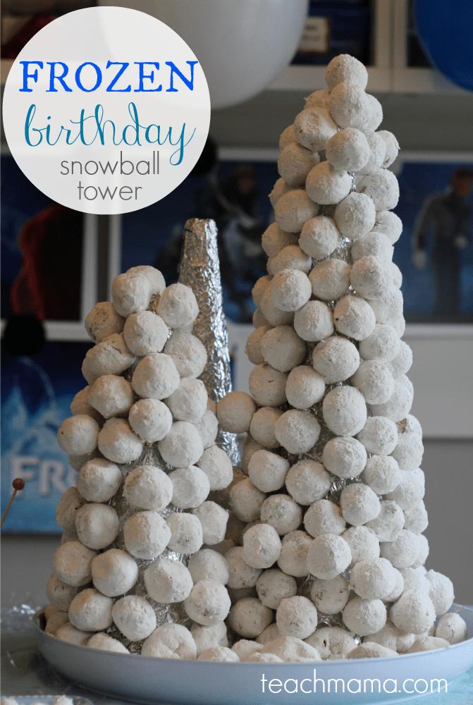 frozen birthday cake snowball tower