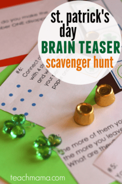 st. patrick's day BRAIN TEASER scavenger hunt