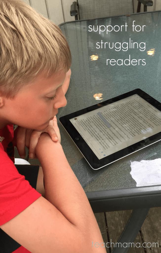 boy reading on kindle device