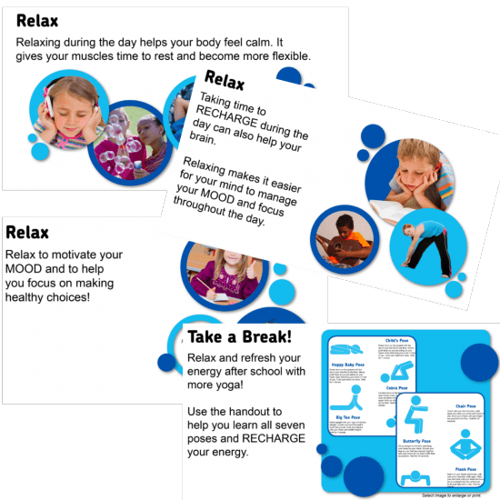 yoga brain breaks use fitflow to teach kids yoga moves from fit4Schools collage