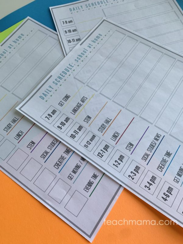our coronavirus school schedule on colored paper all three versions