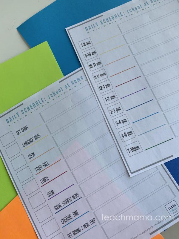 School at Home During Coronavirus: two blank