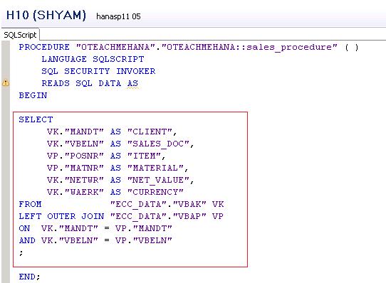 SAP HANA HDB Procedure
