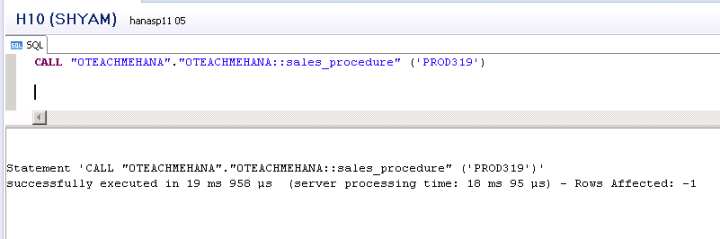SAP HANA Stored Procedures
