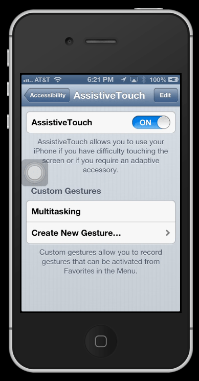 cant activate assistive touch