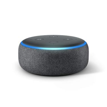An image of the Amazon Echo Dot speaker.  It is black with a shiny turquoise ring going around the top of the Alexa-ready speaker.
