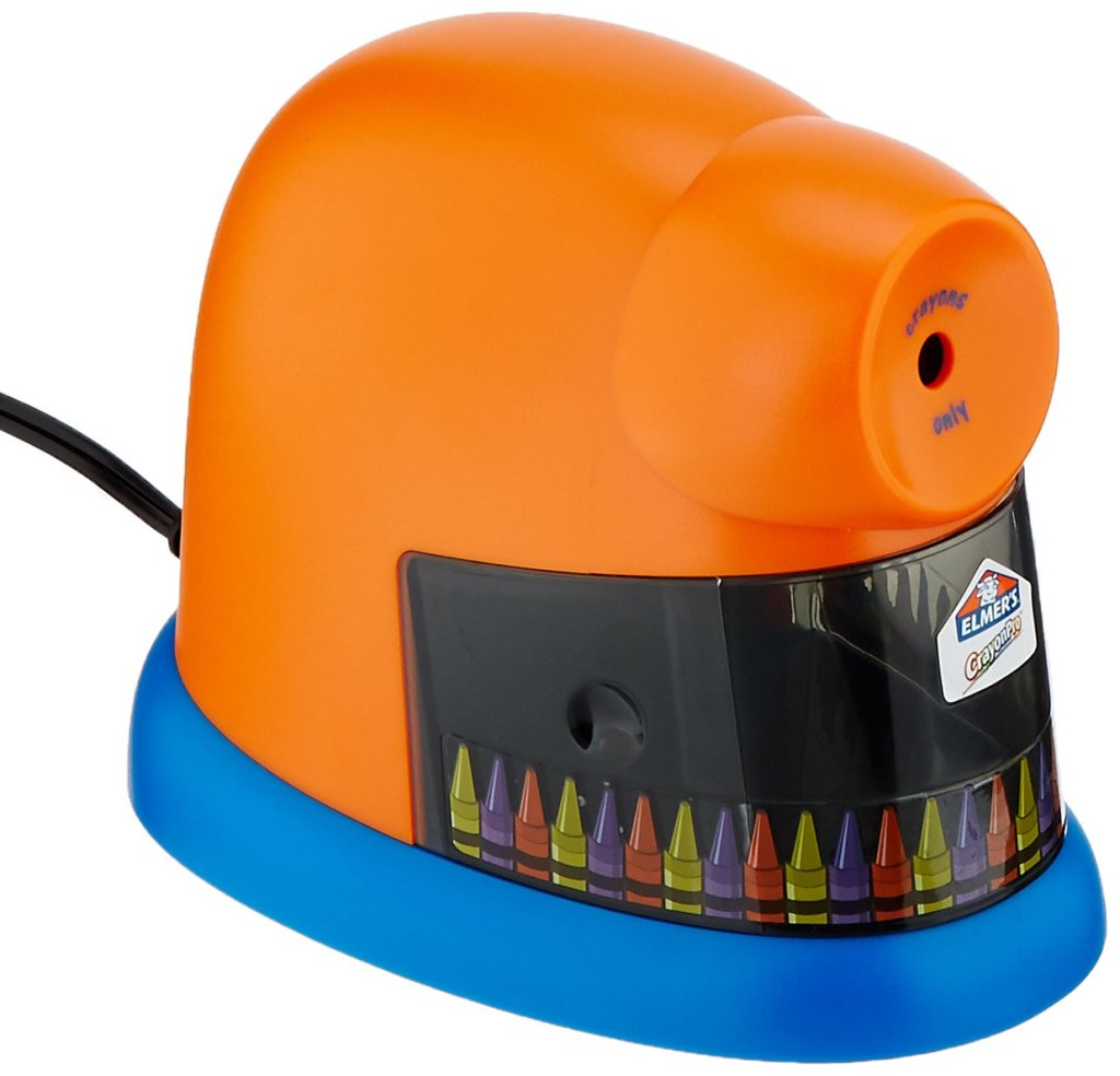 Elmer's electric crayon sharpener.  An image of an orange and blue crayon sharpener.  Pictures of yellow, purple, and red crayons going around the base of the sharpener.