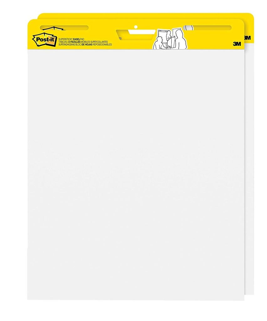 An image of 2 chart tablets.  Large white paper with a bright yellow Post-It Note by 3M border.