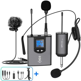 Image of a wireless headphone set that attaches over the ear.  It shows all of the components needed for the wireless set to work.  Over the ear microphone, power box that attaches to your clothing and the plugs that you will need.  The bus is a chrome gray with black wires.