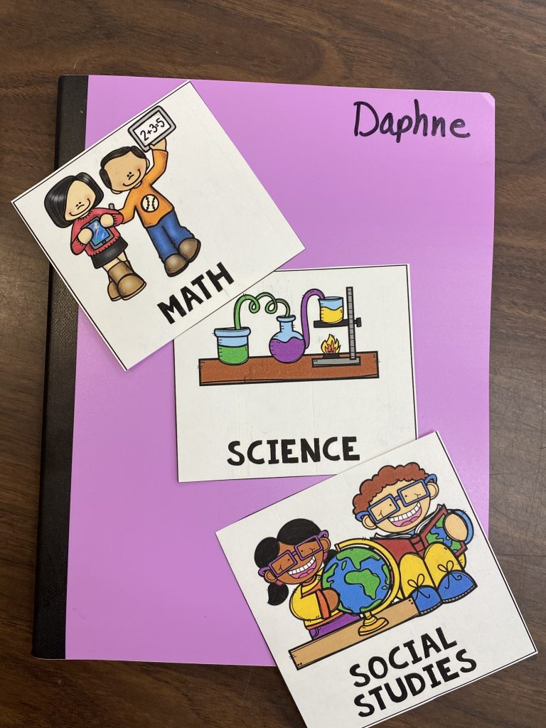 An image of the sticker labels that I created and printed for each of the notebooks that we need this year.  A hot pink notebook or journal with stickers printed for math, science, and social studies.