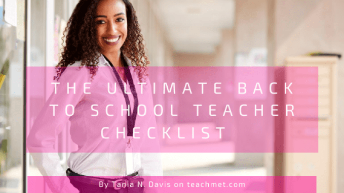"""An image of a tall, smiling, African American teacher wearing a lanyard and standing outside of a school building.  A blog post image for """"The Ultimate Back to School Teacher Checklist"""" on the teachmet.com blog."""