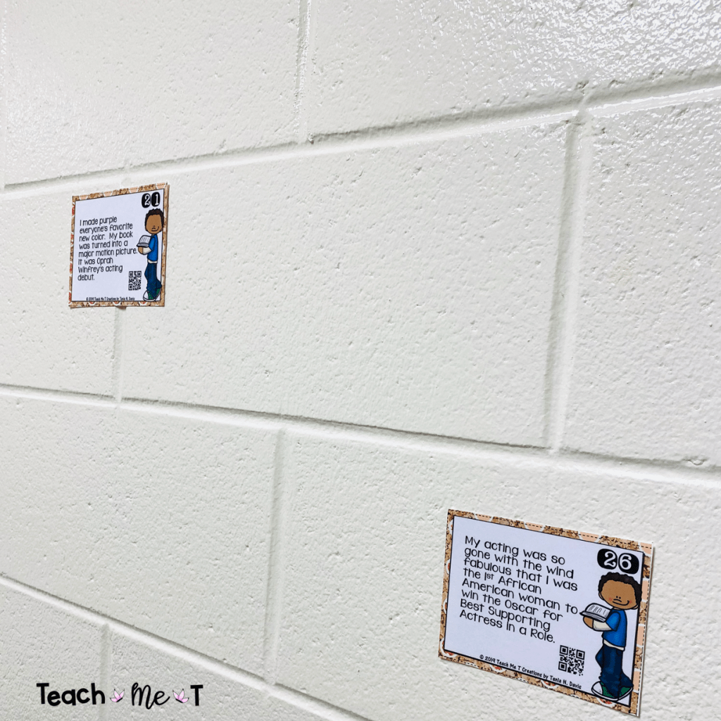 Two task cards with clipart of an African American boy wearing blue jeans and a blue shirt, holding a book in his hands.  A clue to famous African Americans in history are on each card. Giving ideas for keeping task cards touch-free for students.