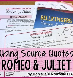 Using Quotes and Paraphrase in Literary Analysis - Romeo \u0026 Juliet by  Shakespeare - Nouvelle ELA Teaching Resources [ 960 x 960 Pixel ]