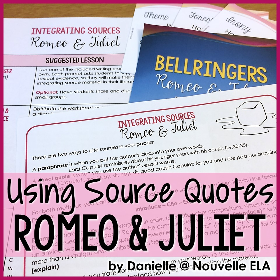 hight resolution of Using Quotes and Paraphrase in Literary Analysis - Romeo \u0026 Juliet by  Shakespeare - Nouvelle ELA Teaching Resources