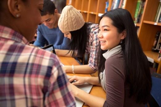 students studying novels