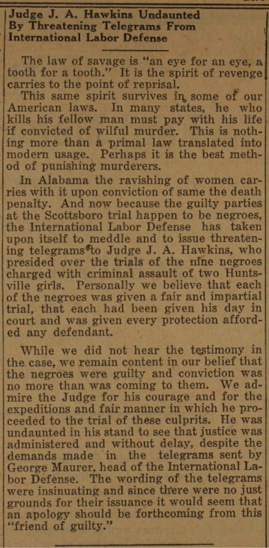 Biased article on the Scottboro Affair