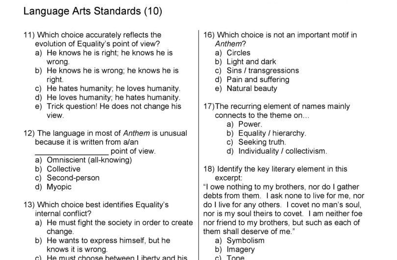 Antheum unit exam common core standards