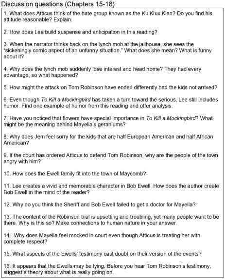 To Kill a Mockingbird Discussion Questions PDF list